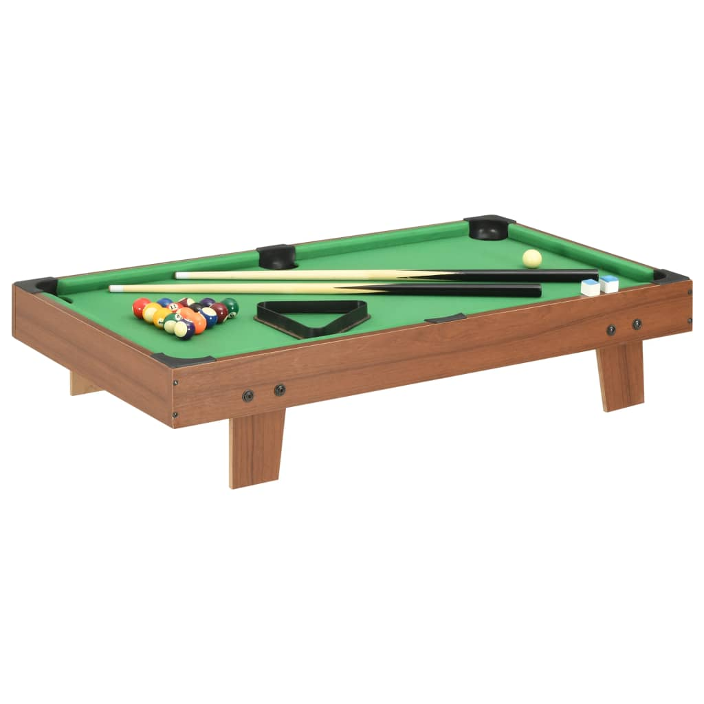 vidaXL 3-stopový mini gulečníkový stôl hnedý a zelený 92x52x19 cm
