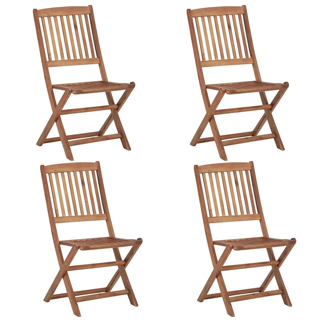 vidaXL Skladacie vonkajšie stoličky 4 ks, akáciový masív