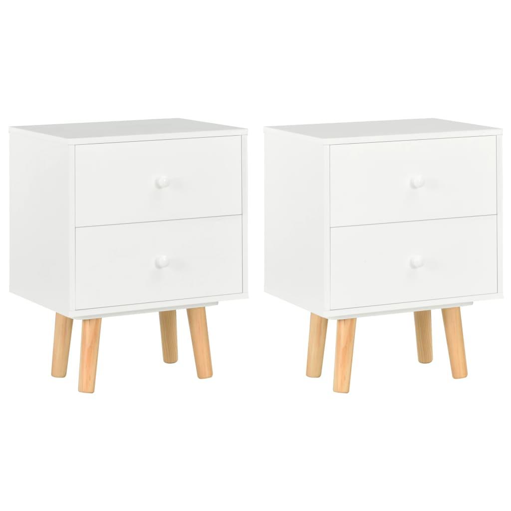 vidaXL Nočné stolíky 2 ks biele 40x30x50 cm borovicový masív