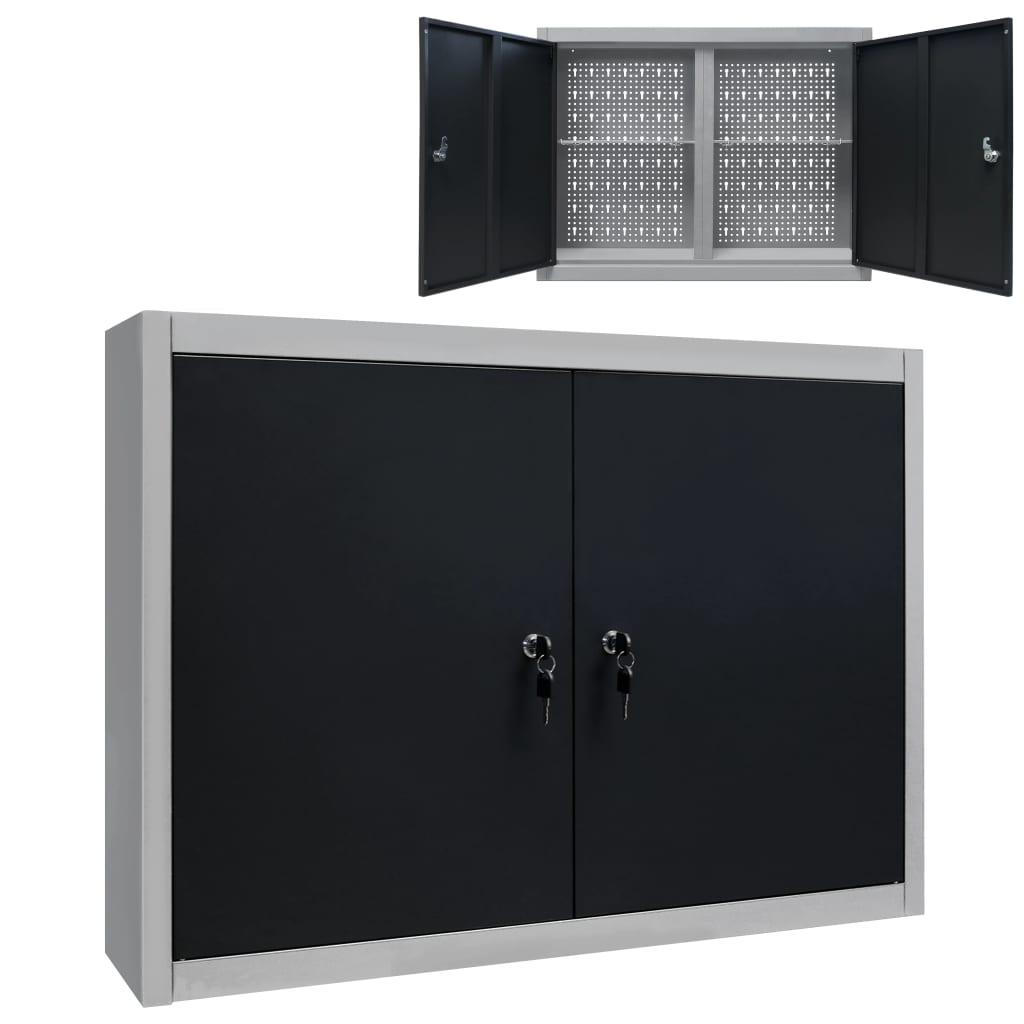 vidaXL Nástenná skrinka na náradie čierno-sivá kovová priemyselný štýl