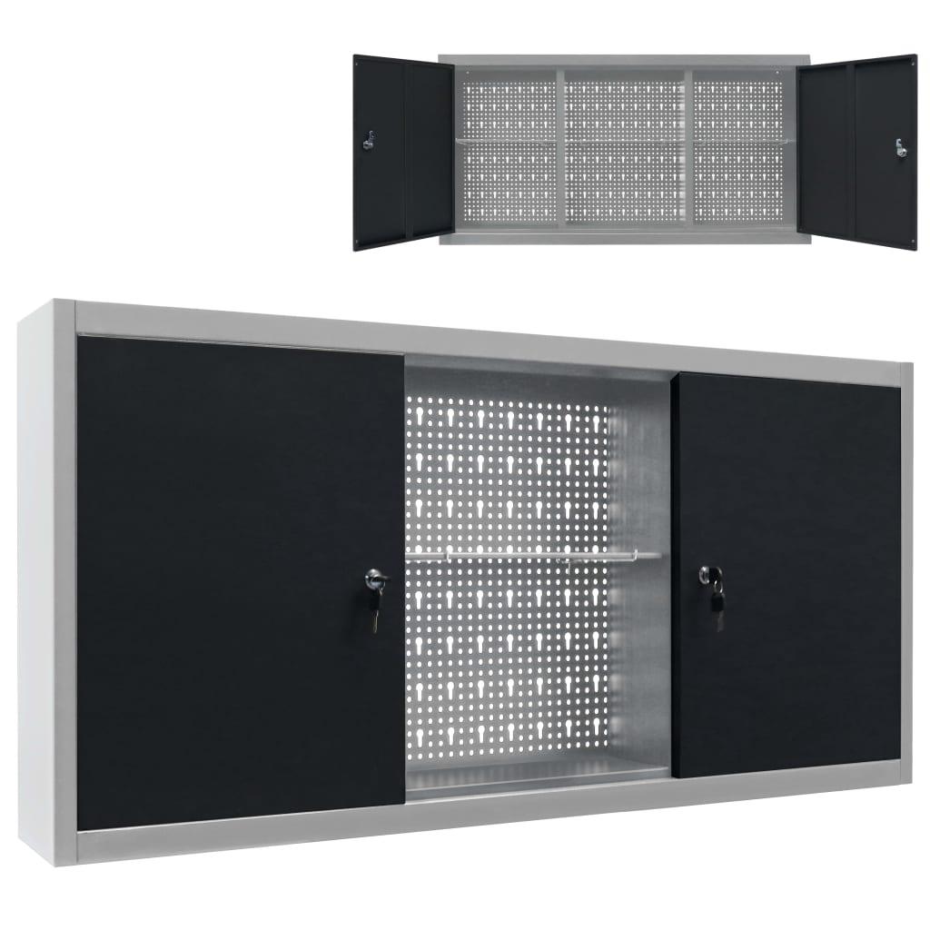 vidaXL Nástenná skrinka na náradie sivo-čierna kovová priemyselný štýl