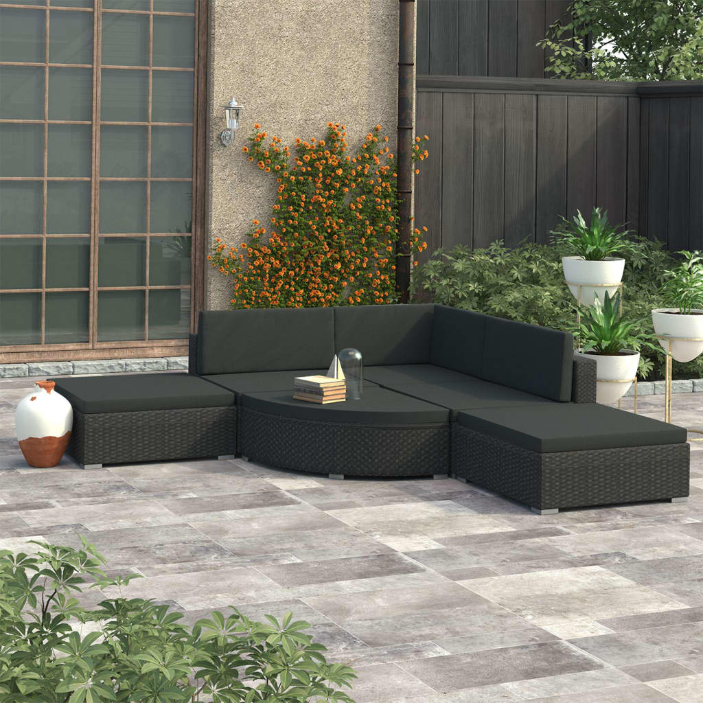 vidaXL 6-dielna záhradná sedacia súprava+podložky, čierna, polyratan