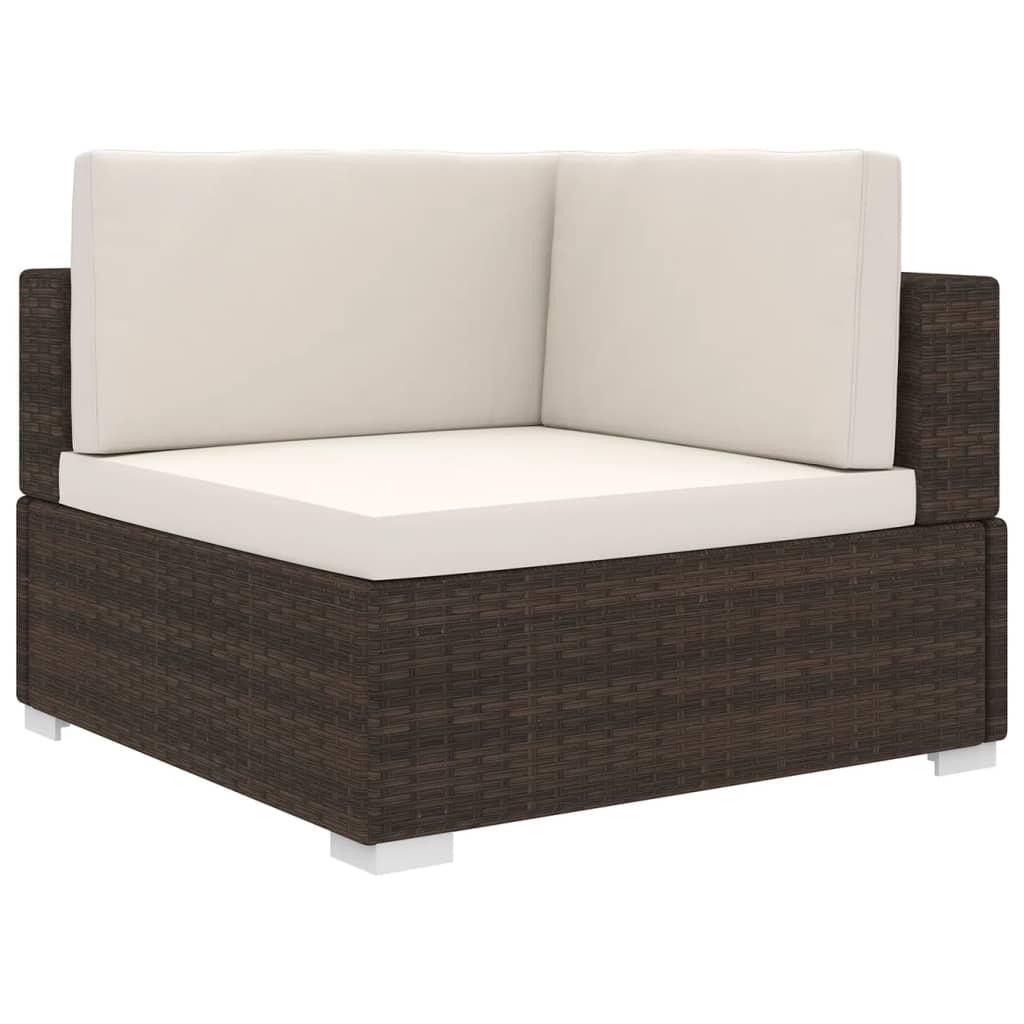 vidaXL Rohová sedačka s podložkou polyratanová hnedá