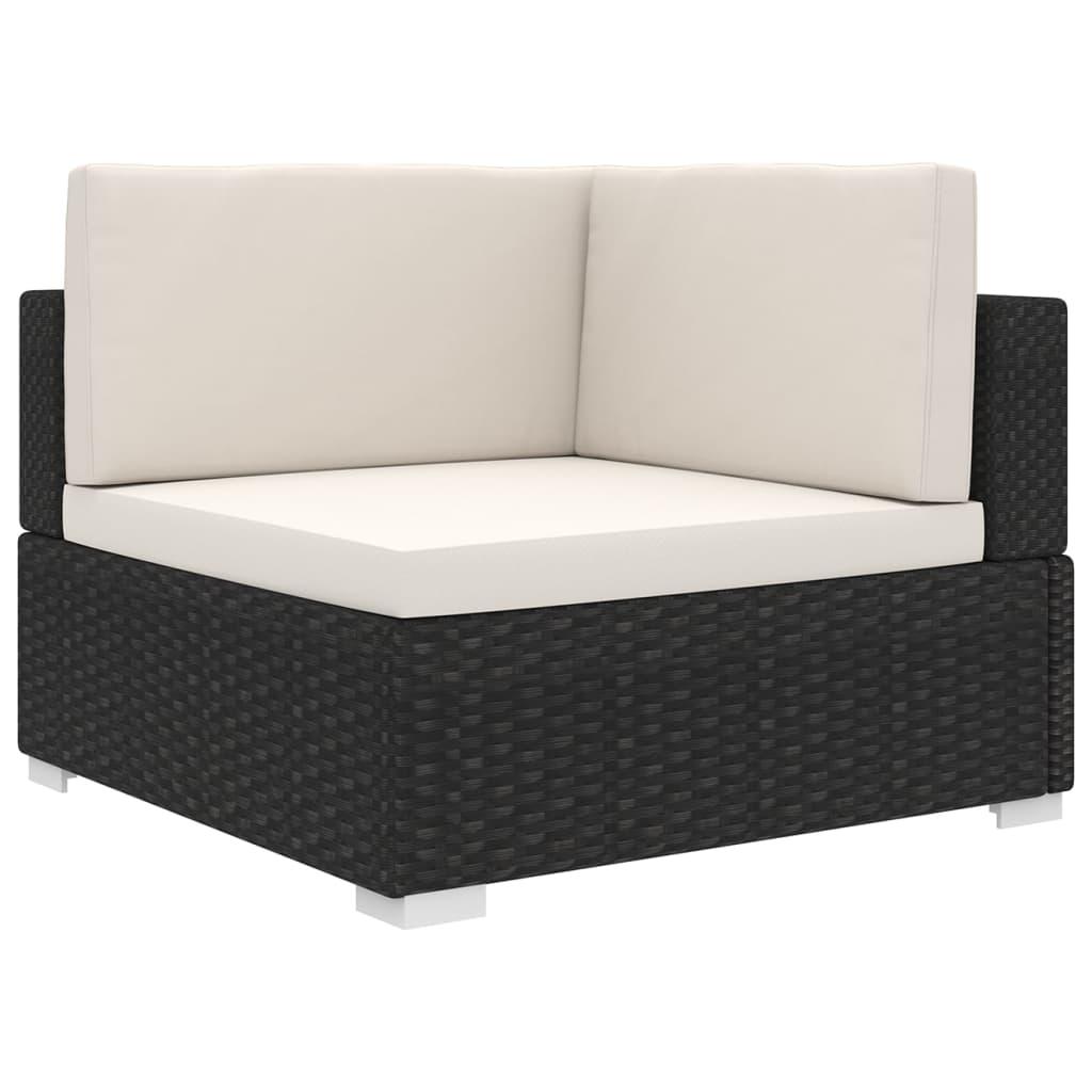 vidaXL Rohová sedačka s podložkou polyratanová čierna