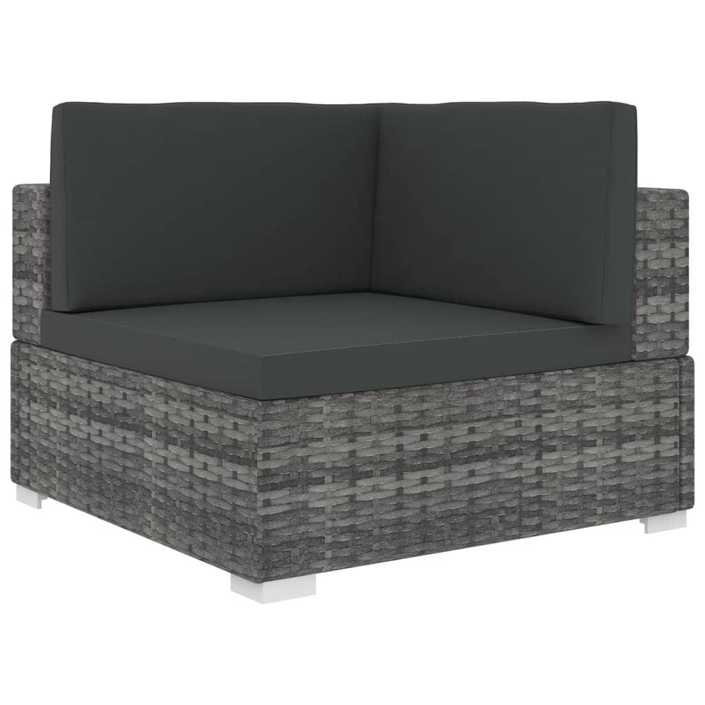 vidaXL Rohová sedačka s podložkou polyratanová sivá