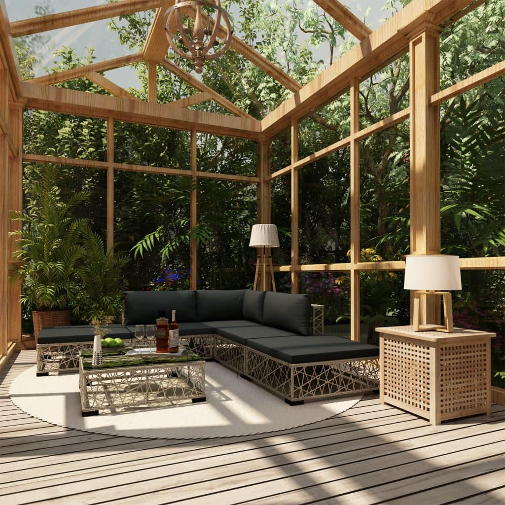 vidaXL 6-dielna záhradná sedacia súprava s podložkami, polyratan, sivá