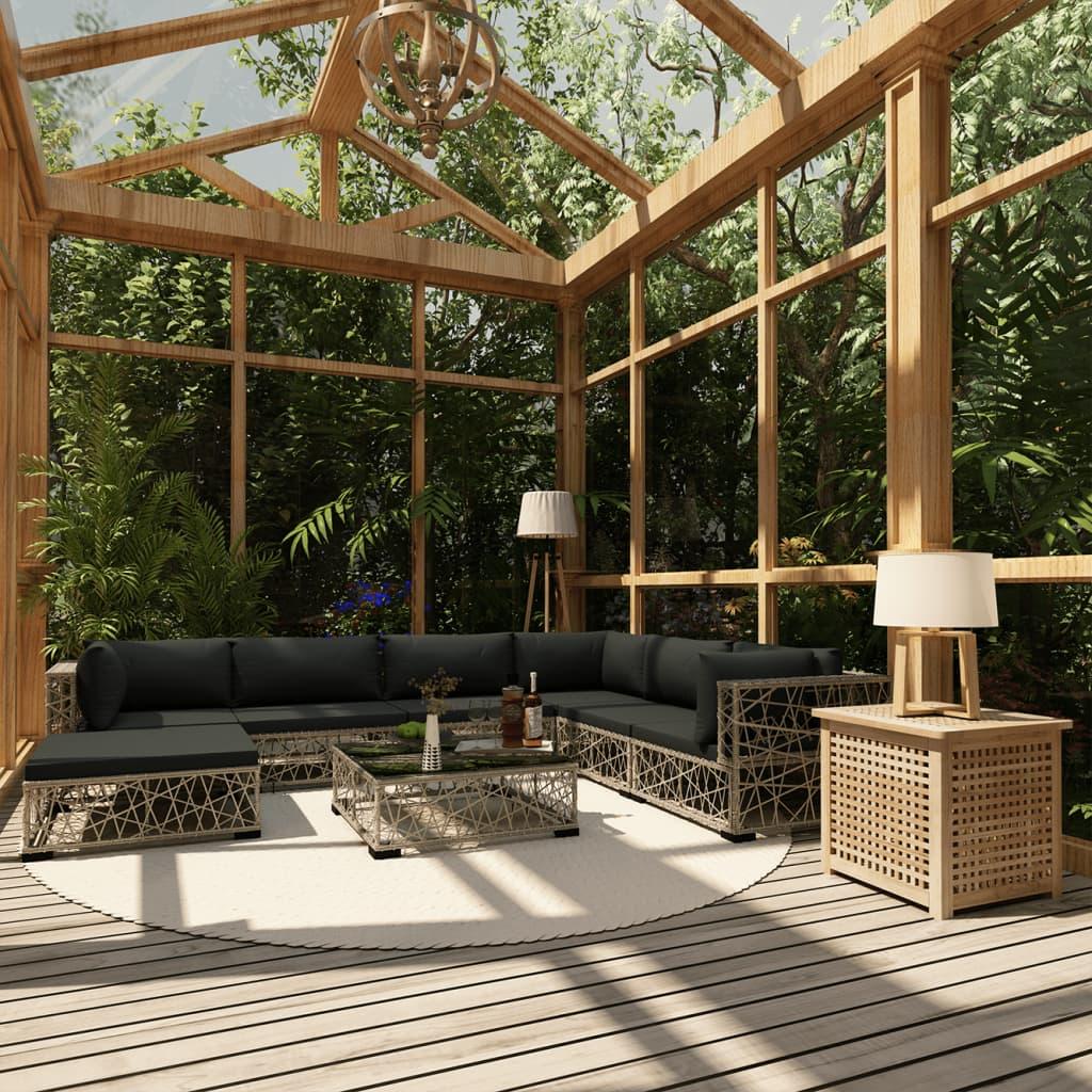 vidaXL 8-dielna záhradná sedacia súprava s podložkami, polyratan, sivá