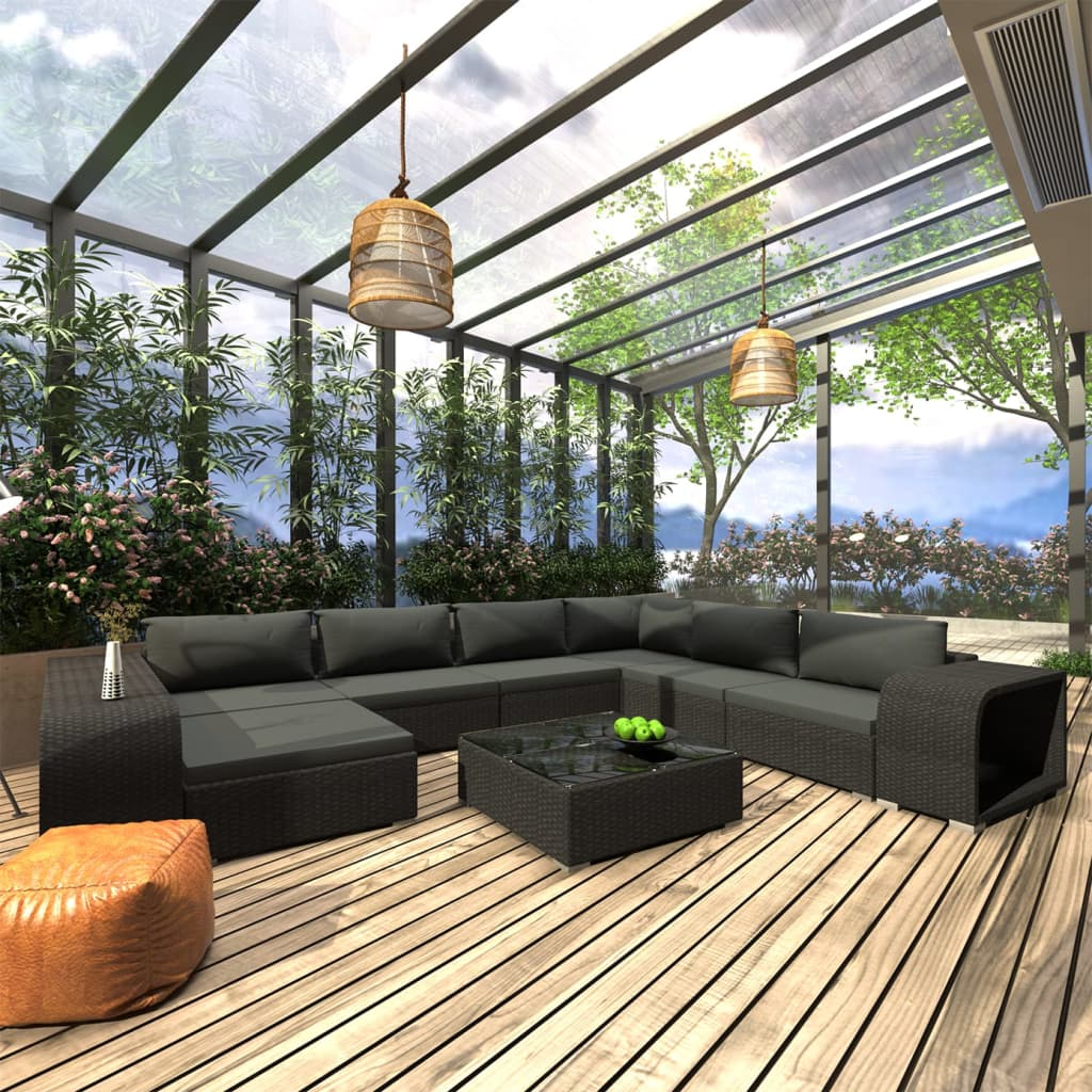 vidaXL 10-dielna záhradná sedacia súprava s vankúšmi polyratanová čierna