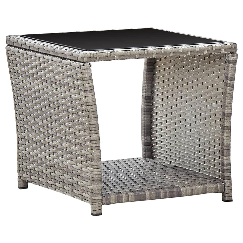 vidaXL Konferenčný stolík, sivý 45x45x40 cm, polyratan a sklo