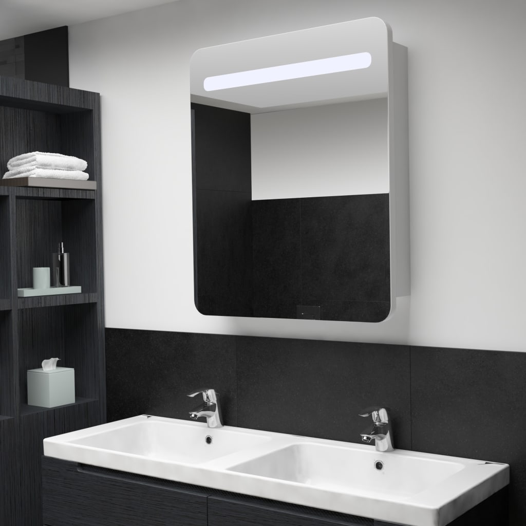 vidaXL LED kúpeľňová zrkadlová skrinka 68x11x80 cm