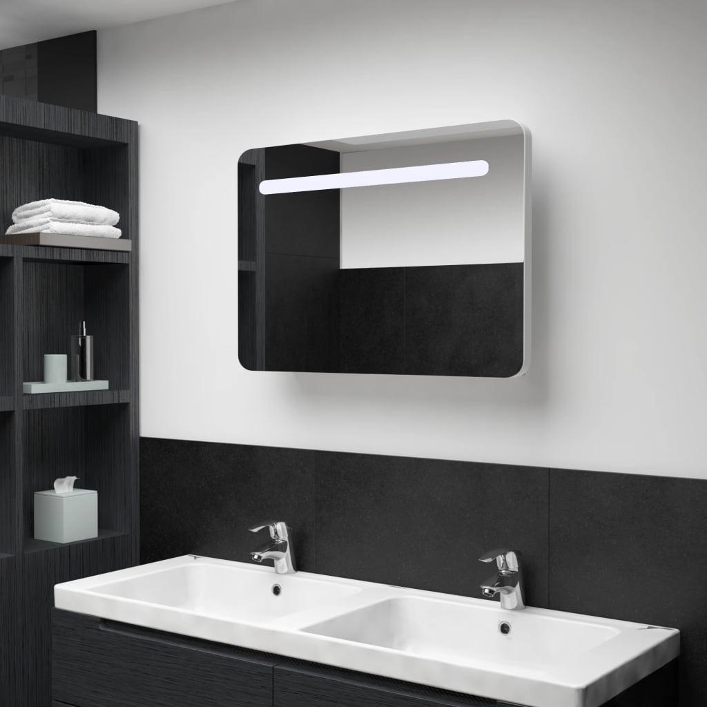 vidaXL LED kúpeľňová zrkadlová skrinka 80x11x55 cm