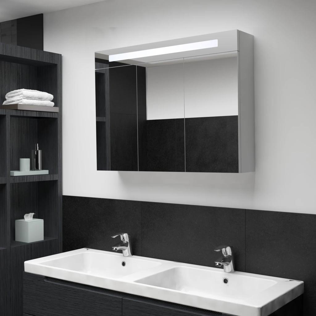 vidaXL LED kúpeľňová zrkadlová skrinka 88x13x62 cm