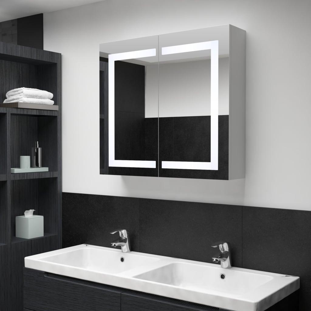 vidaXL LED kúpeľňová zrkadlová skrinka 80x12,2x68 cm