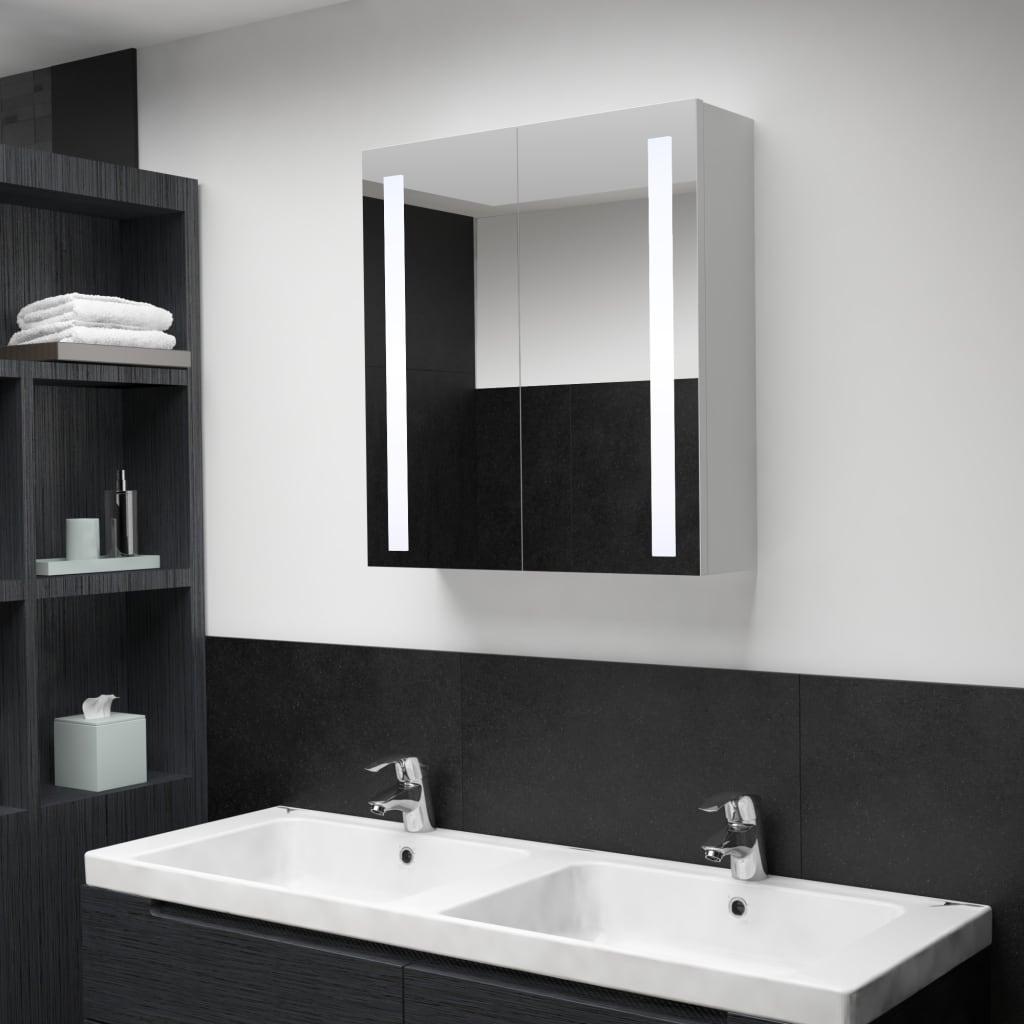vidaXL LED kúpeľňová zrkadlová skrinka 62x14x60 cm