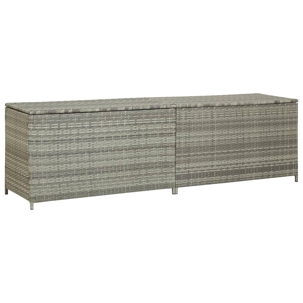 vidaXL Záhradný úložný box sivý 200x50x60 cm polyratanový