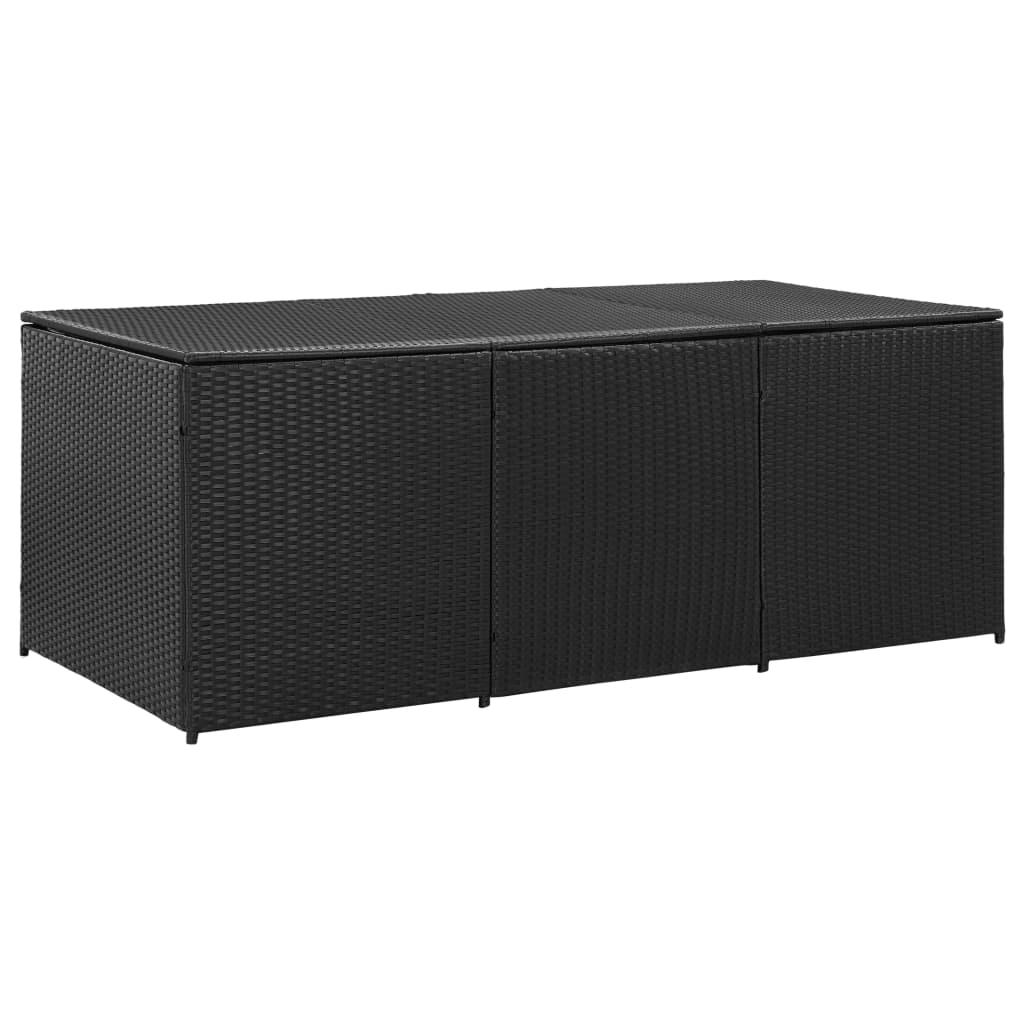 vidaXL Záhradný úložný box čierny 180x90x75 cm polyratanový