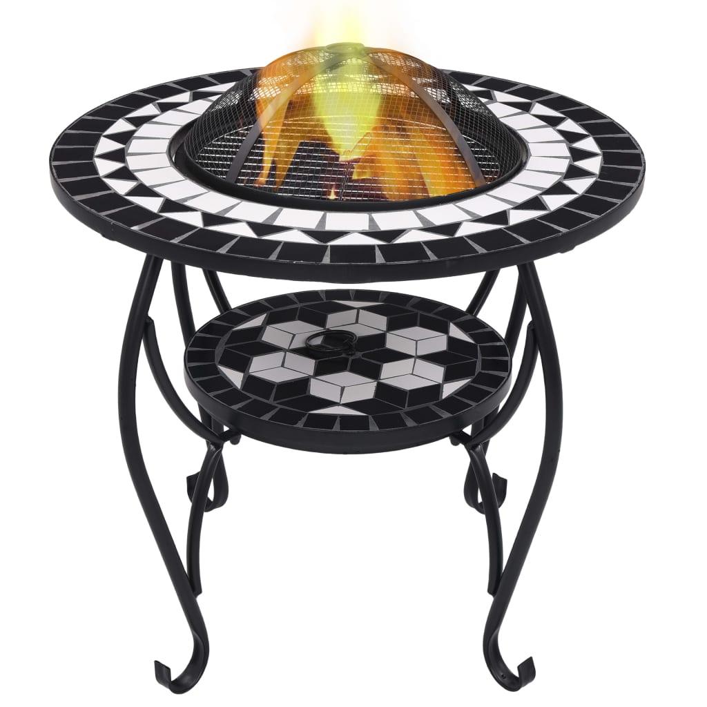 vidaXL Mozaikový prenosný stôl s ohniskom čierno-biely 68 cm keramický