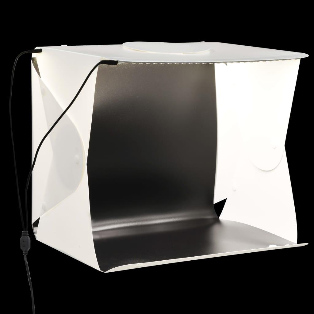 vidaXL Skladací LED štúdiový svetelný stan 40x34x37 cm plastový biely