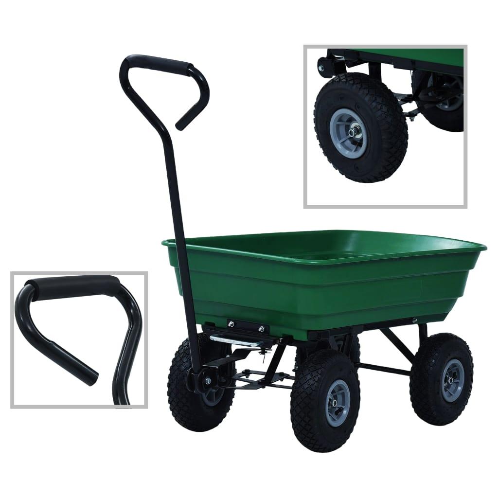 vidaXL Záhradný vyklápací ručný vozík zelený 300 kg 75 l
