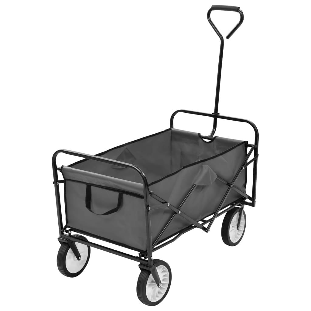 vidaXL Skladací ručný vozík, oceľ, sivý
