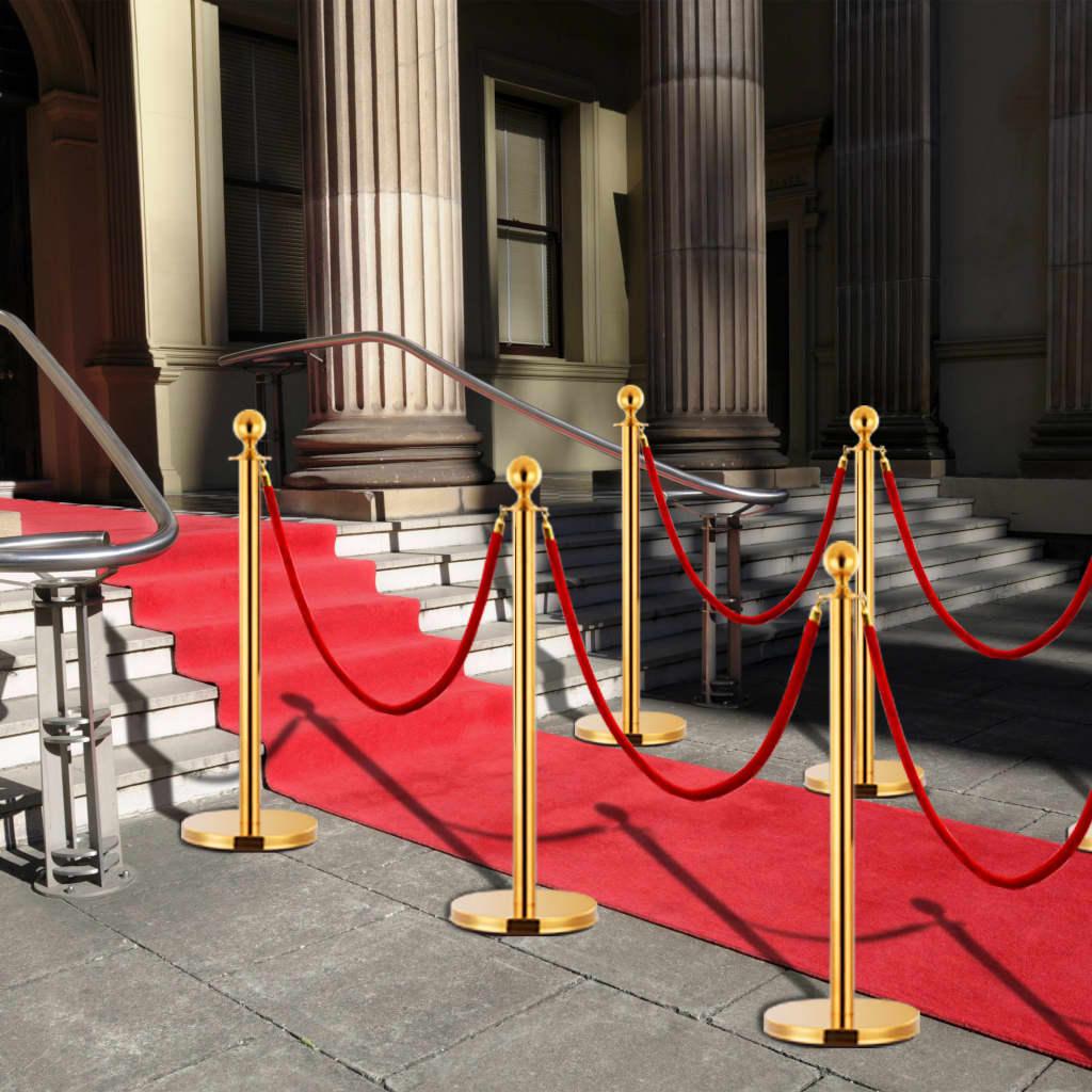 vidaXL 3-dielna sada VIP vymedzovacích stĺpikov nehrdzavejúca oceľ zlatá