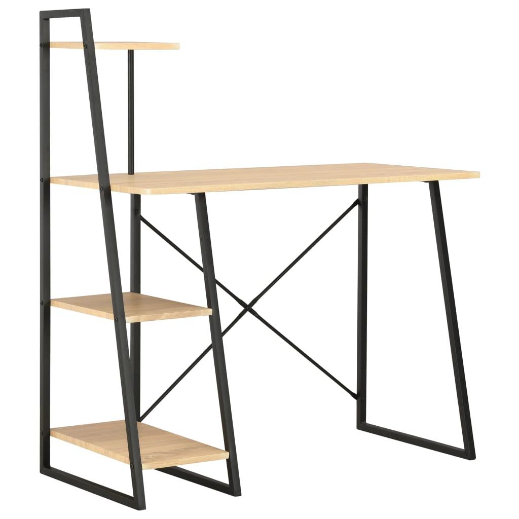vidaXL Písací stôl s policami, čierny a dubový 102x50x117 cm
