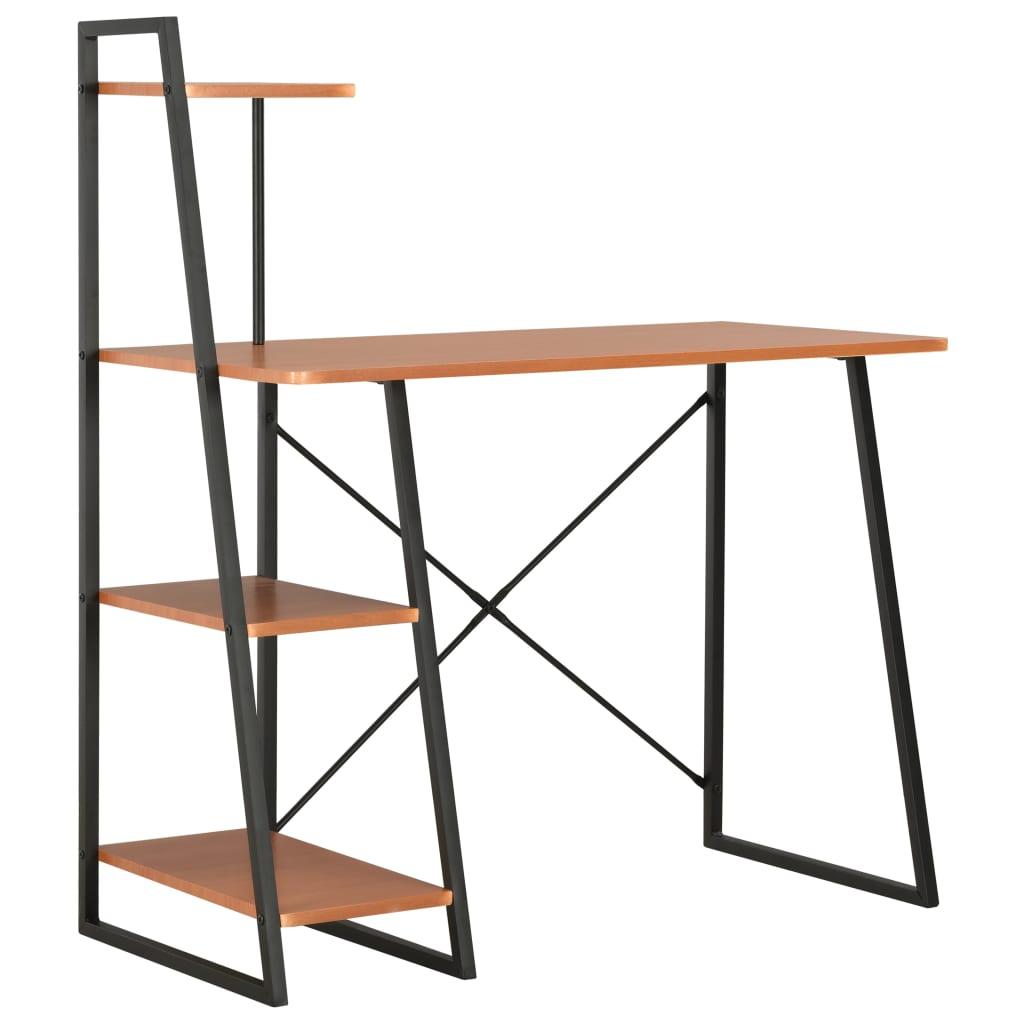 vidaXL Písací stôl s policami, čierny a hnedý 102x50x117 cm