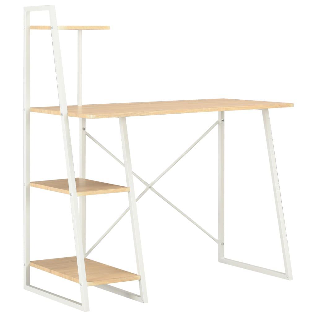 vidaXL Písací stôl s policami, biely a dubový 102x50x117 cm