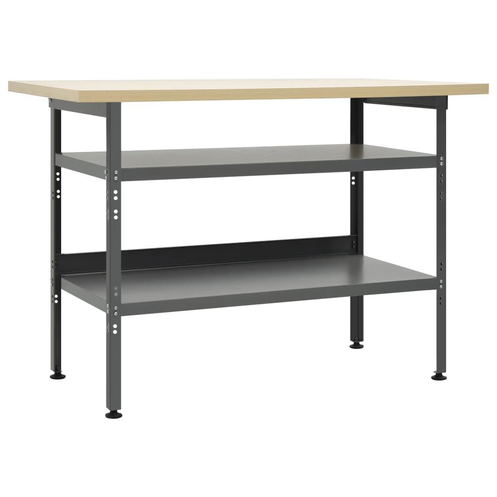 vidaXL Pracovný stôl sivý 120x60x85 cm oceľ