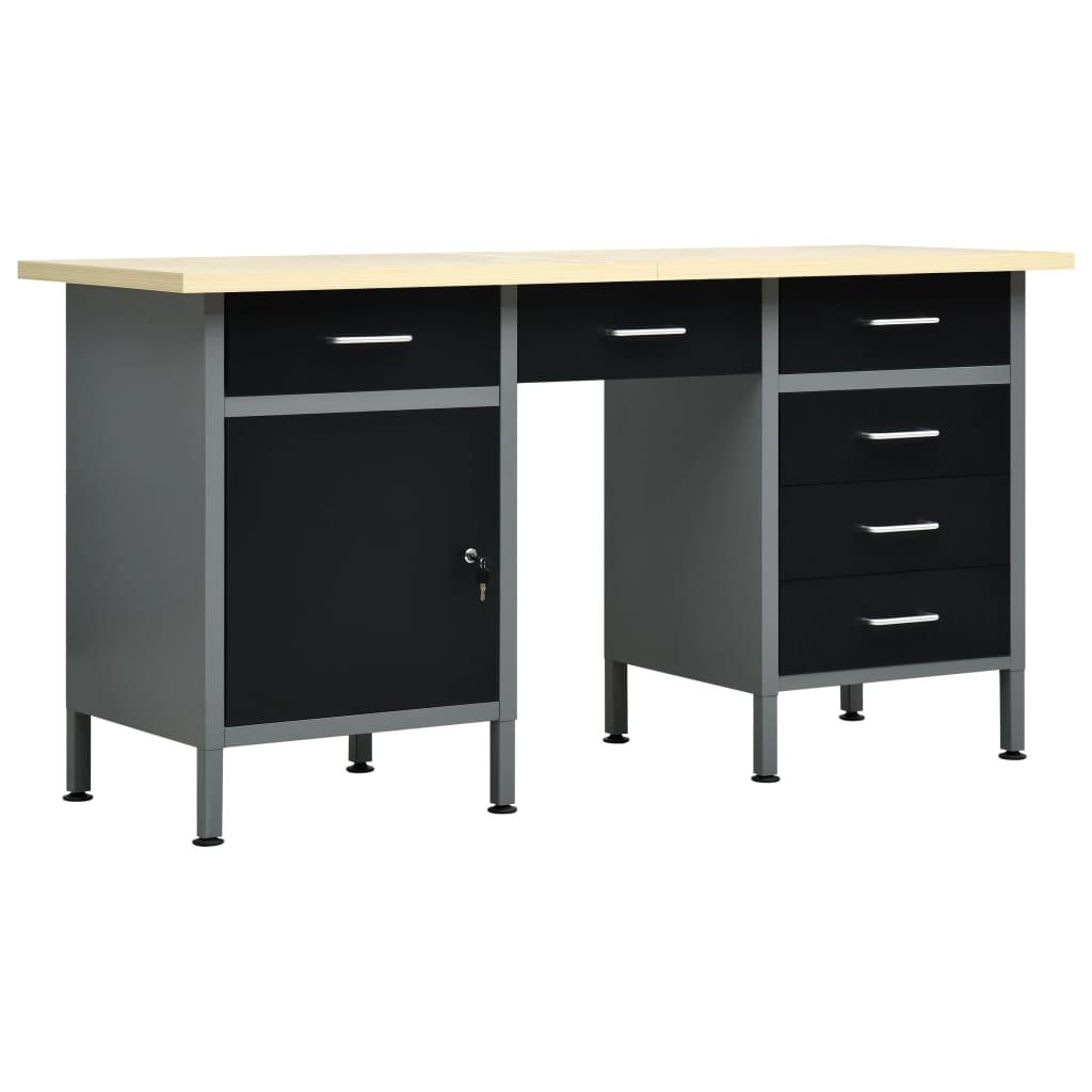 vidaXL Pracovný stôl čierny 160x60x85 cm oceľový