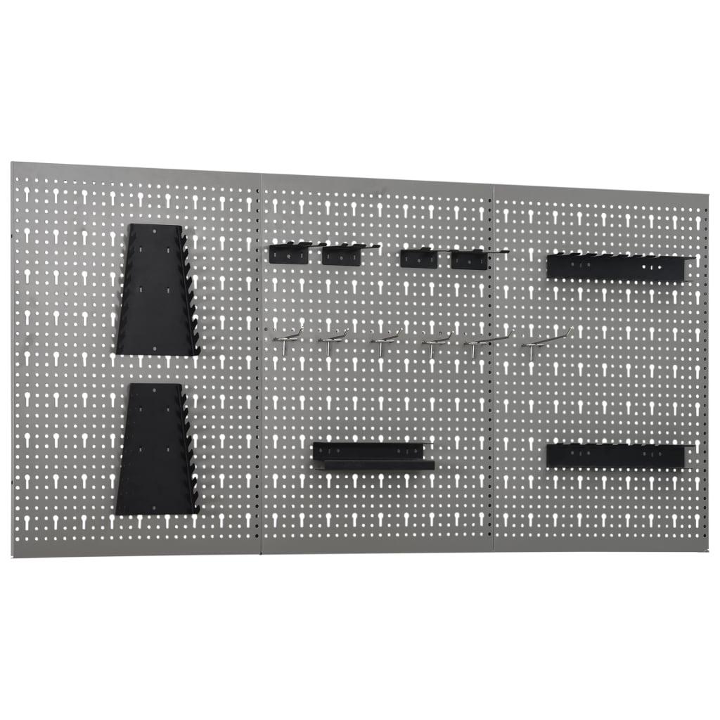 vidaXL Nástenné závesné panely na náradie 3 ks 40x58 cm oceľové