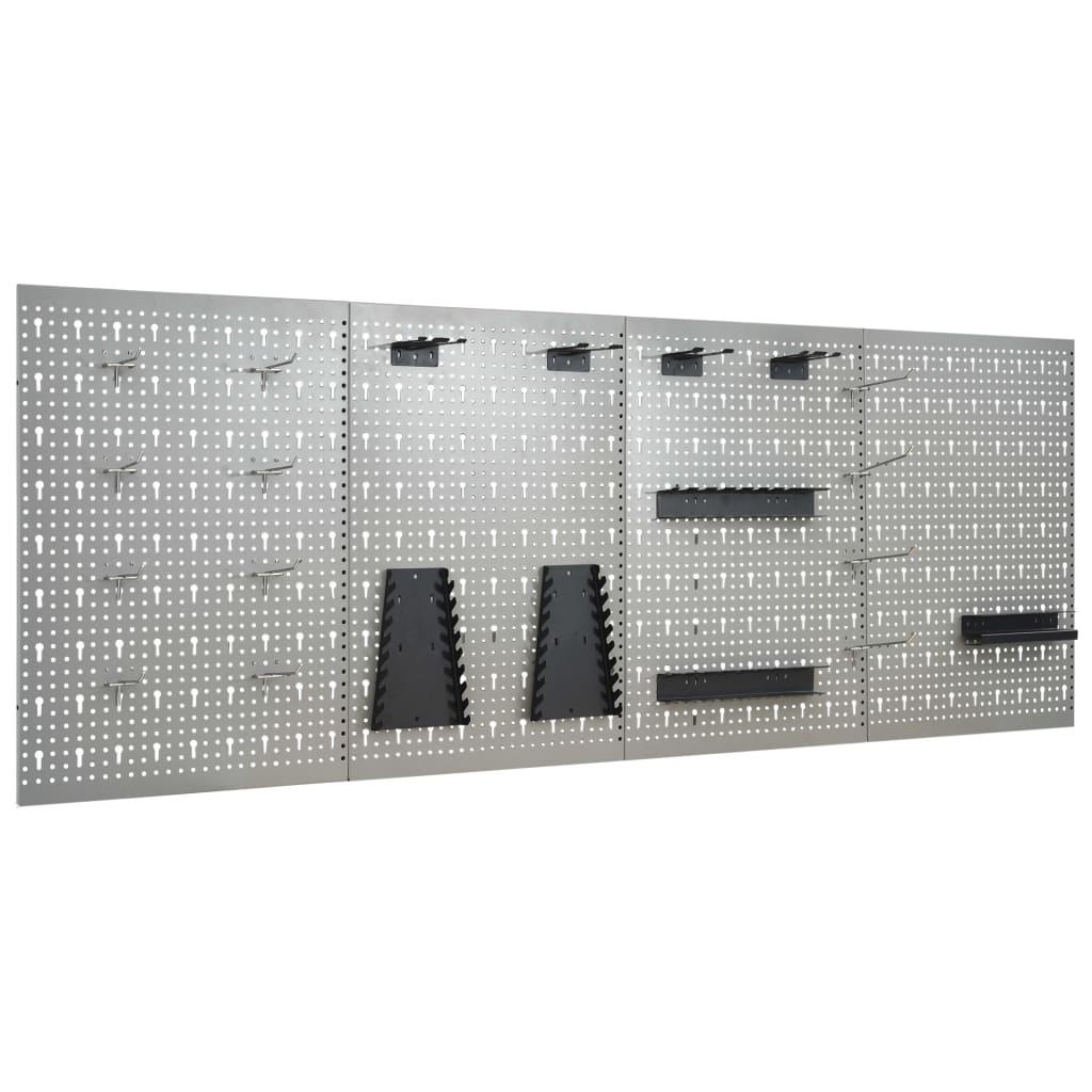 vidaXL Nástenné závesné panely na náradie 4 ks 40x58 cm oceľové