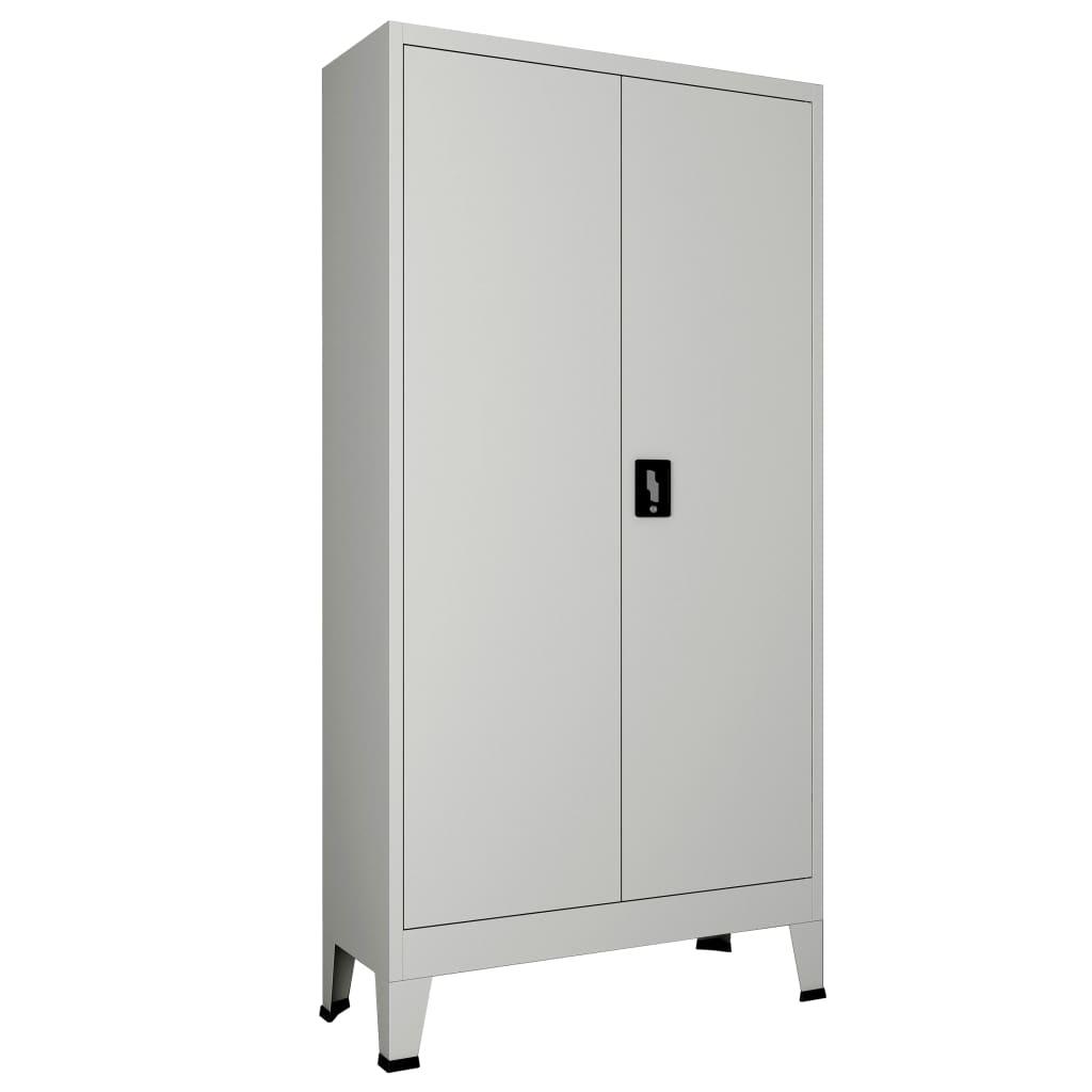vidaXL Kancelárska skrinka s 2 dverami oceľová 90x40x180 cm šedá