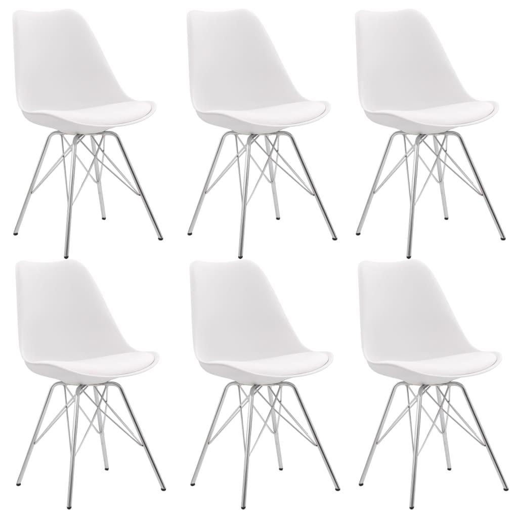 vidaXL Jedálenské stoličky 6 ks, biele, umelá koža