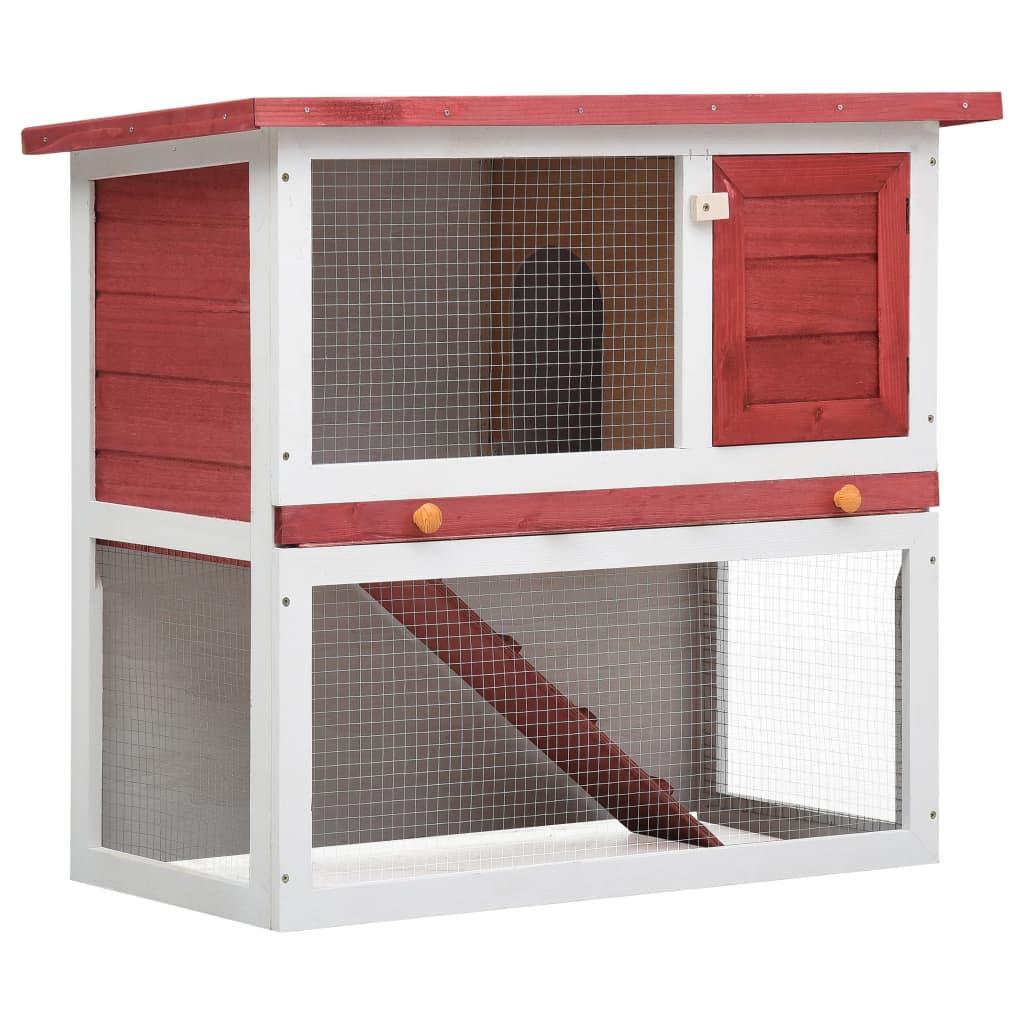 vidaXL Vonkajšia králikáreň, 1 dvierka, červená, drevo