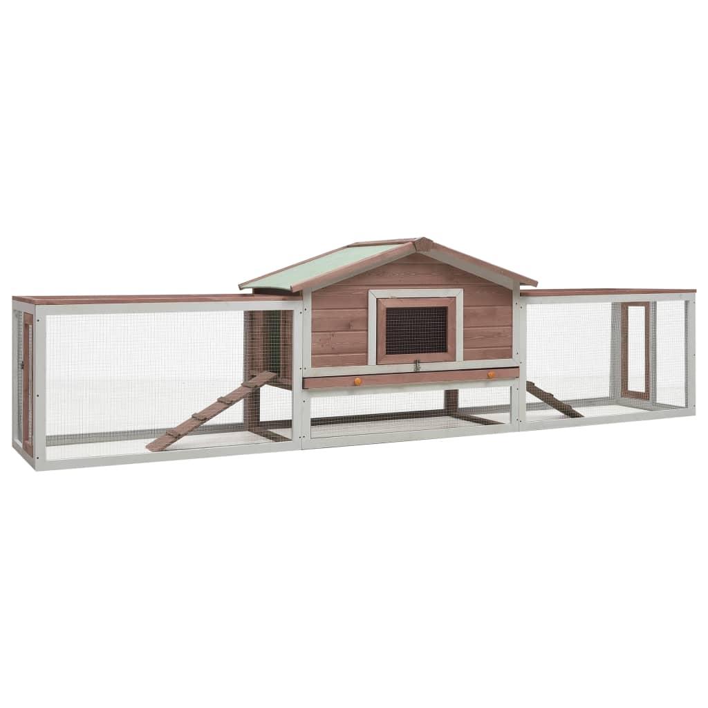vidaXL Králikáreň farba moky 303x60x86 cm masívne borovicové a jedľové drevo