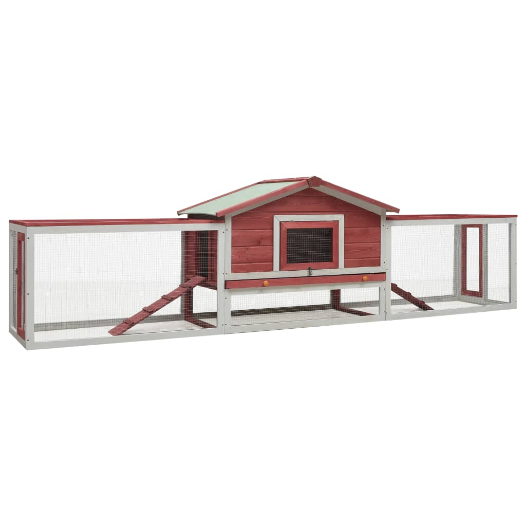 vidaXL Králikáreň červená 303x60x86 cm masívne borovicové a jedľové drevo