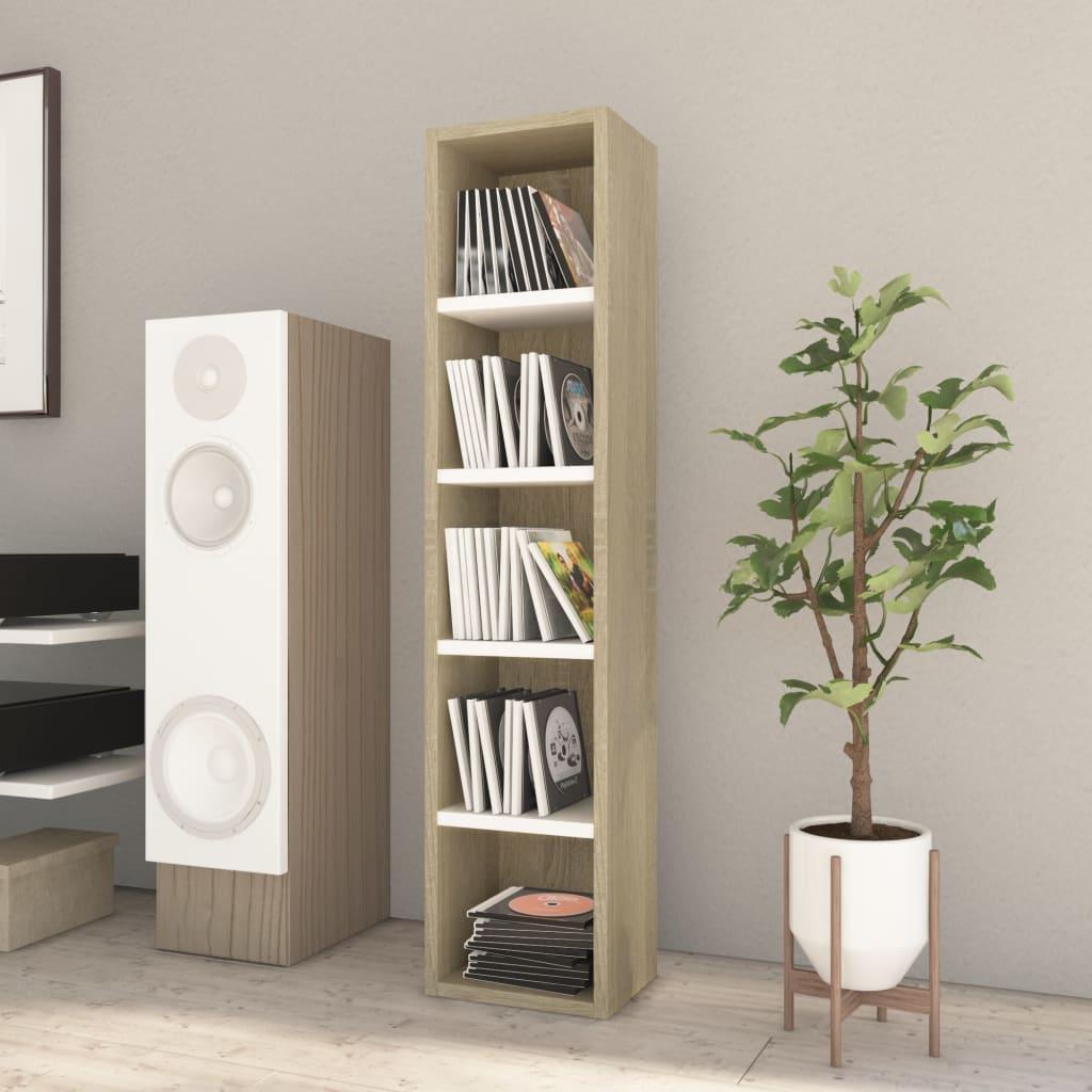 vidaXL Skrinka na CD biela a farby dubu sonoma 21x16x93,5 cm drevotrieska