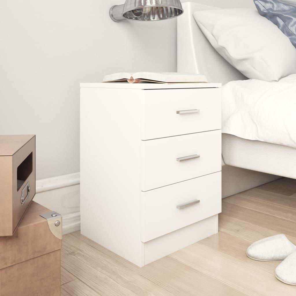 vidaXL Nočný stolík, biely 38x35x56 cm, drevotrieska