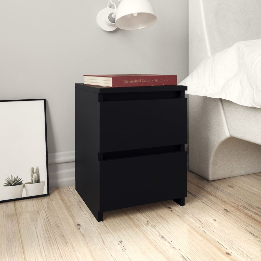 vidaXL Nočné stolíky 2 ks čierne 30x30x40 cm drevotrieska