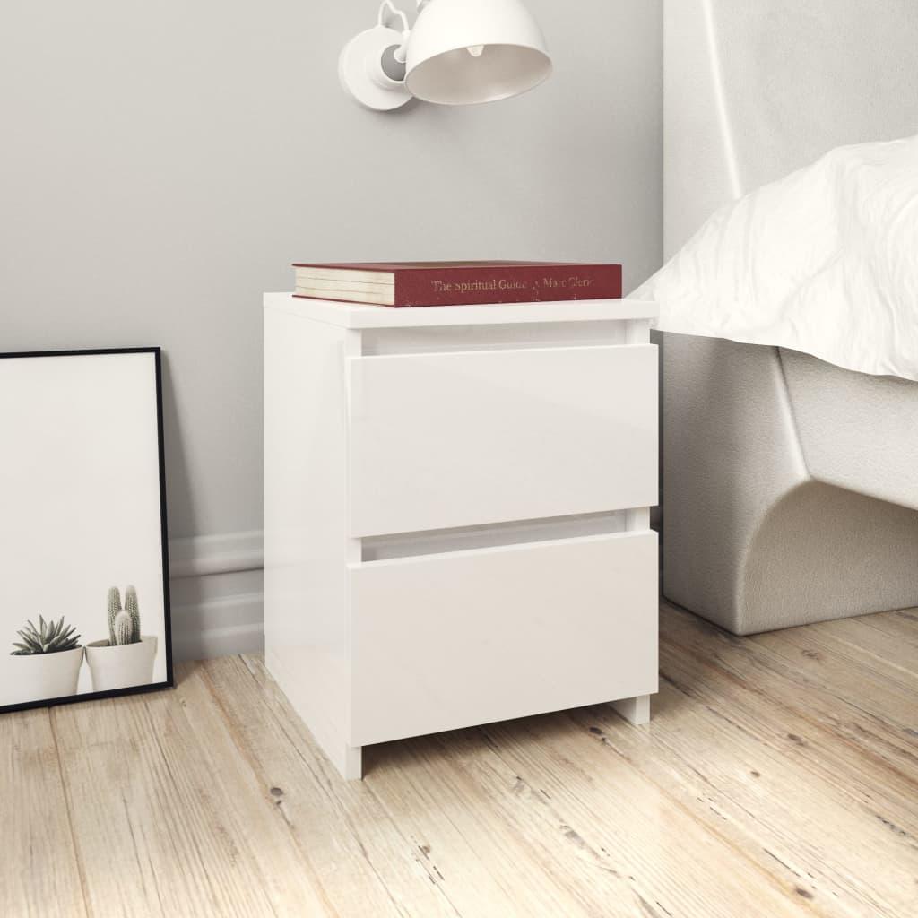vidaXL Nočné stolíky 2 ks lesklé biele 30x30x40 cm drevotrieska