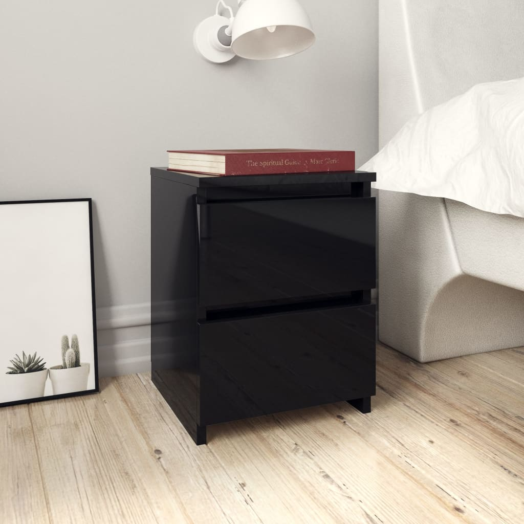 vidaXL Nočné stolíky 2 ks lesklé čierne 30x30x40 cm drevotrieska