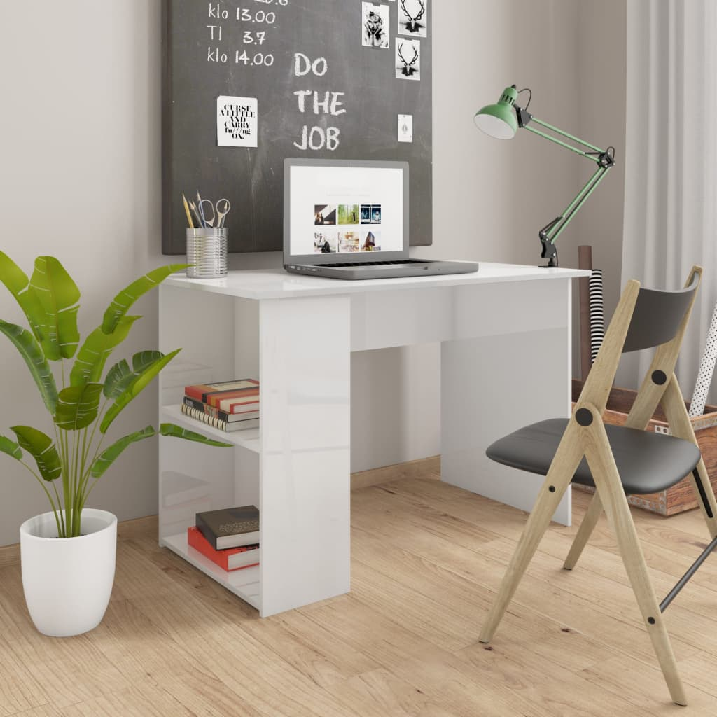 vidaXL Stôl lesklý biely 110x60x73 cm drevotrieska