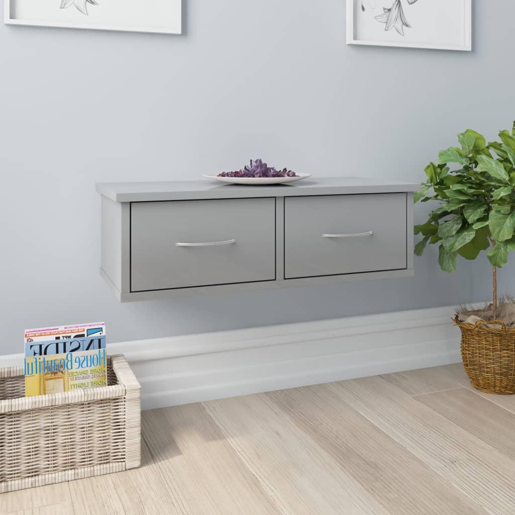 vidaXL Nástenná zásuvková polica lesklá sivá 60x26x18,5 cm drevotrieska