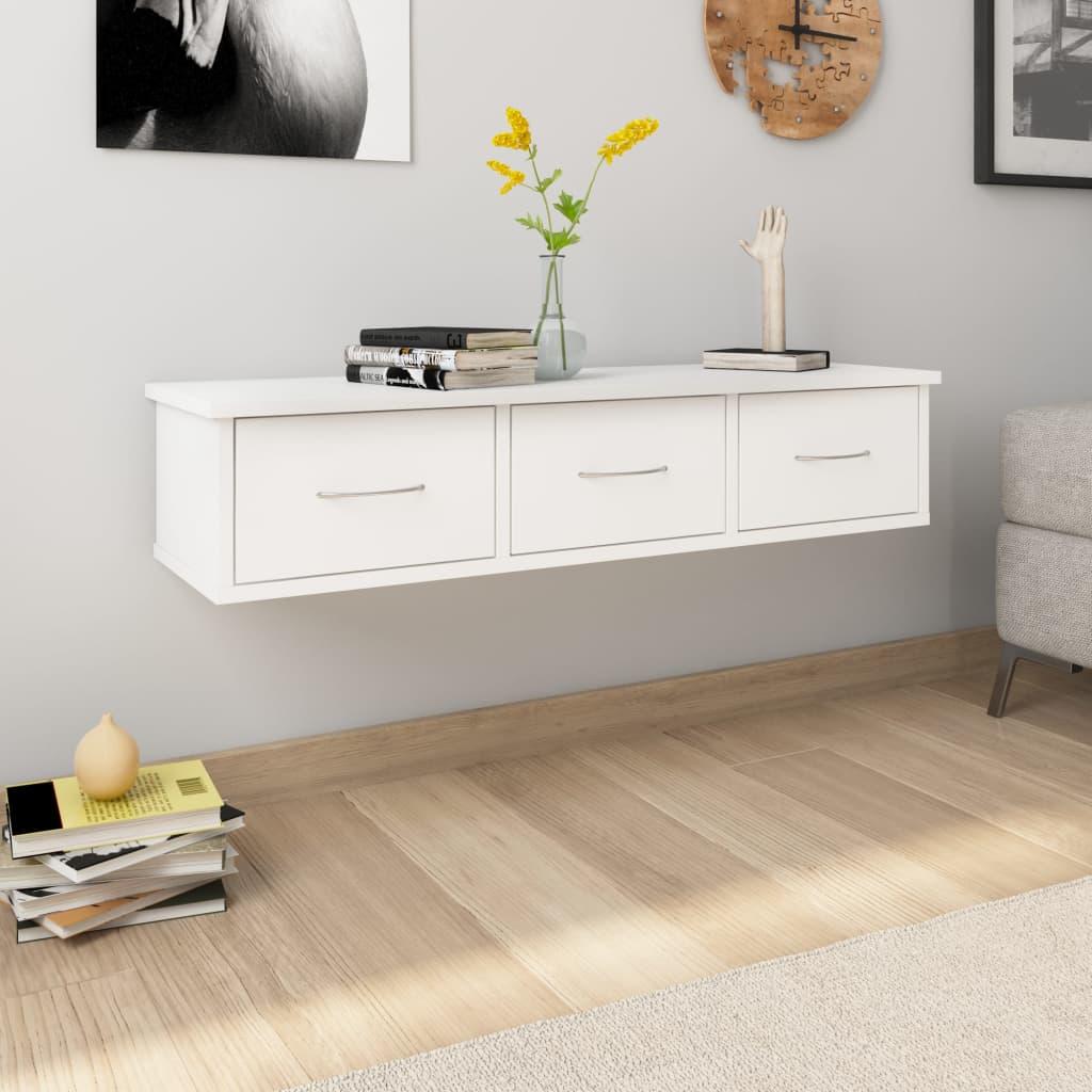 vidaXL Nástenná zásuvková polica biela 90x26x18,5 cm drevotrieska