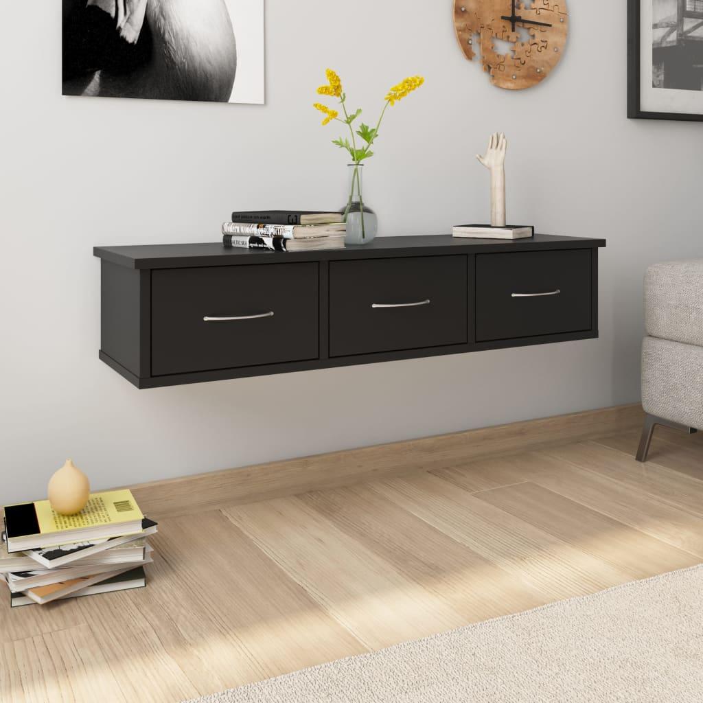 vidaXL Nástenná zásuvková polica čierna 90x26x18,5 cm drevotrieska
