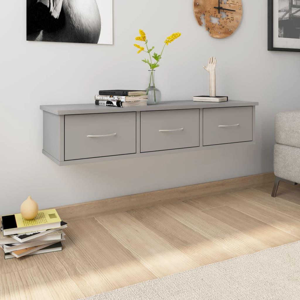 vidaXL Nástenná zásuvková polica sivá 90x26x18,5 cm drevotrieska