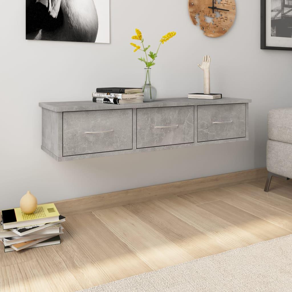 vidaXL Nástenná zásuvková polica betónová sivá 90x26x18,5 cm drevotrieska