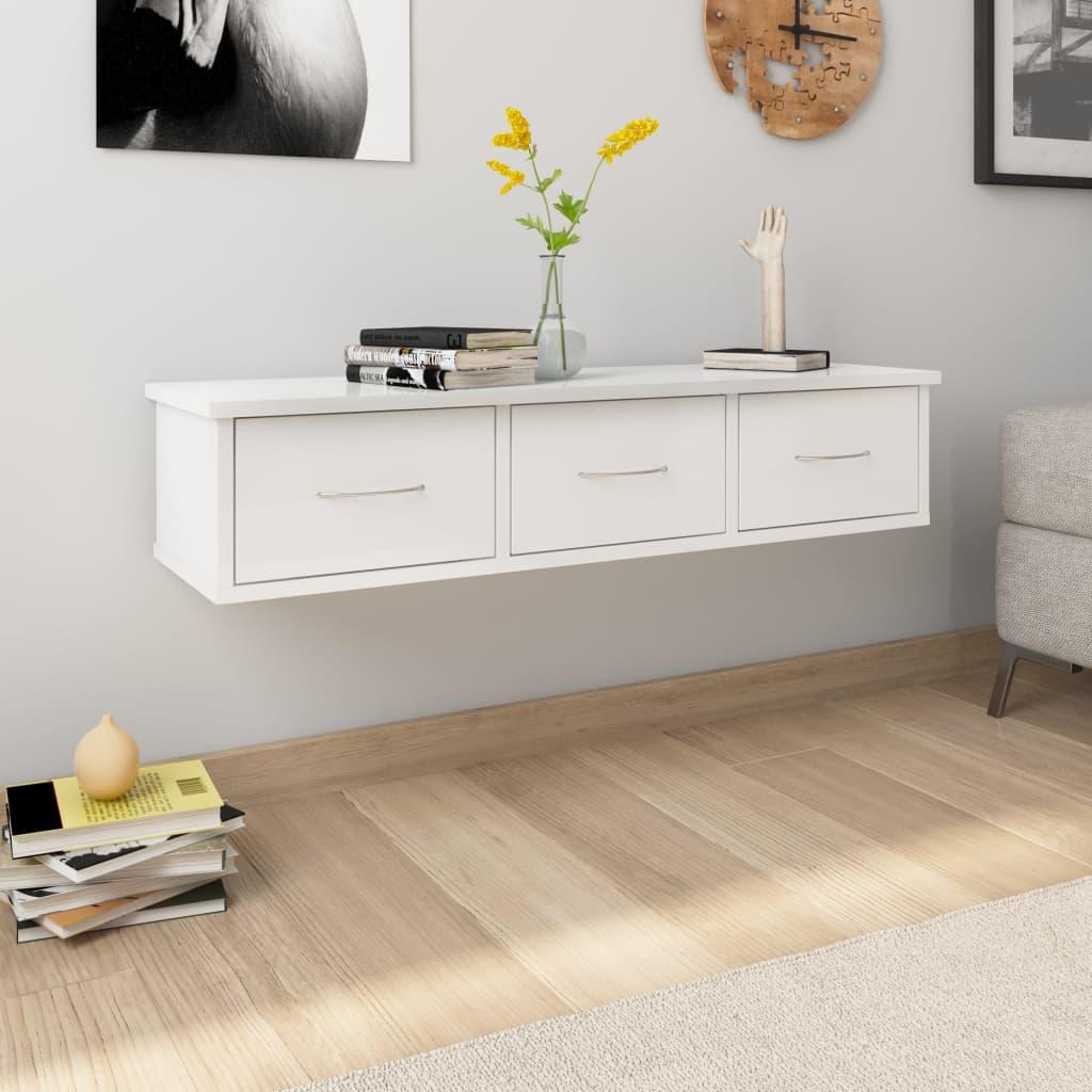 vidaXL Nástenná zásuvková polica lesklá biela 90x26x18,5 cm drevotrieska