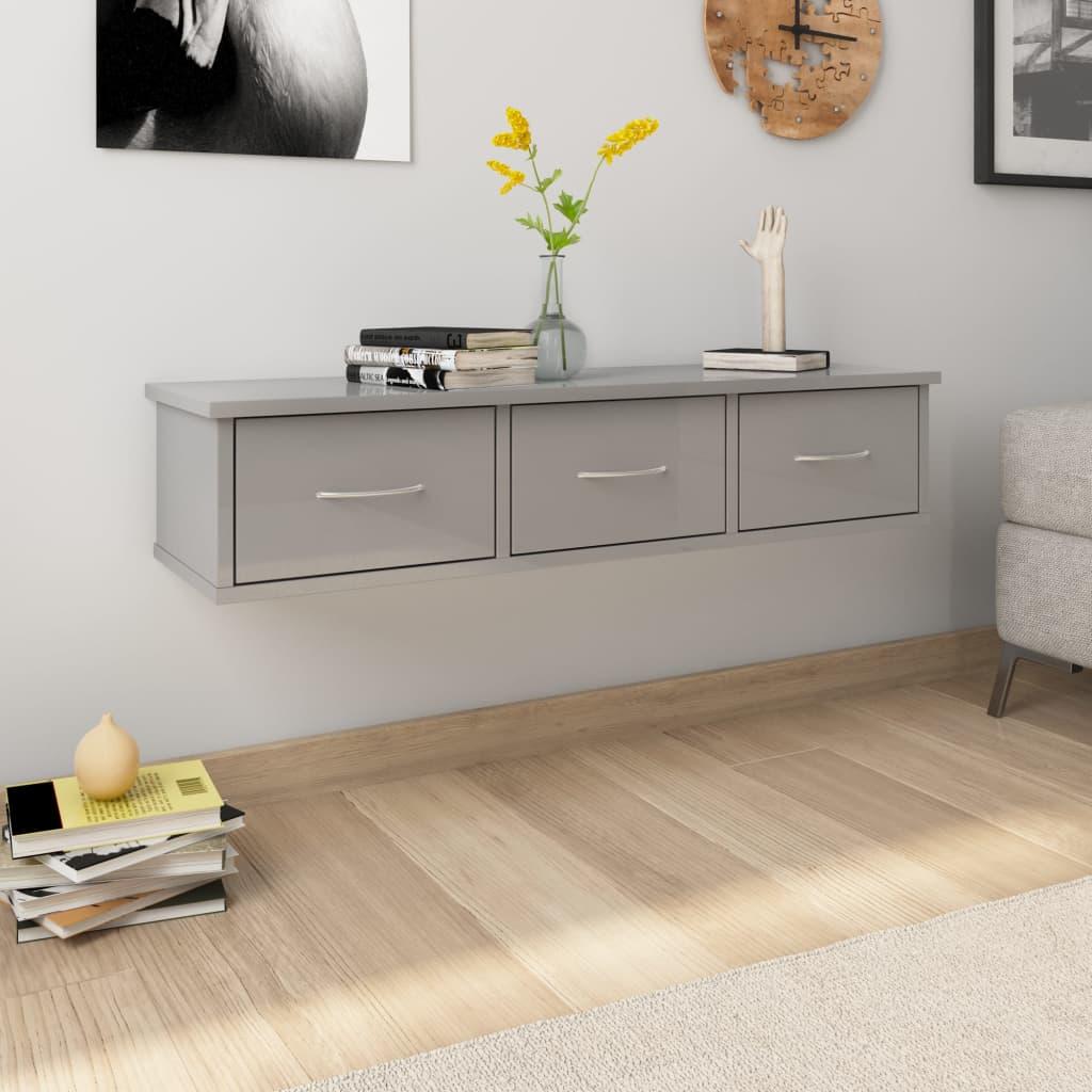 vidaXL Nástenná zásuvková polica lesklá sivá 90x26x18,5 cm drevotrieska